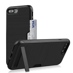 Brushed 2 in 1 TPU + PC Stand Card Slot Phone Case Cover for iPhone 8 Plus / 7 Plus 7P(5.5 inch) - Black