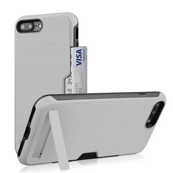 Brushed 2 in 1 TPU + PC Stand Card Slot Phone Case Cover for iPhone 8 Plus / 7 Plus 7P(5.5 inch) - Silver