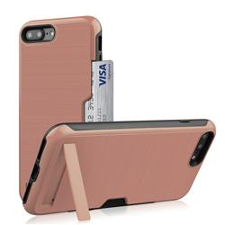 Brushed 2 in 1 TPU + PC Stand Card Slot Phone Case Cover for iPhone 8 Plus / 7 Plus 7P(5.5 inch) - Rose Gold