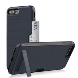 Brushed 2 in 1 TPU + PC Stand Card Slot Phone Case Cover for iPhone 8 Plus / 7 Plus 7P(5.5 inch) - Navy