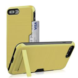 Brushed 2 in 1 TPU + PC Stand Card Slot Phone Case Cover for iPhone 8 Plus / 7 Plus 7P(5.5 inch) - Golden