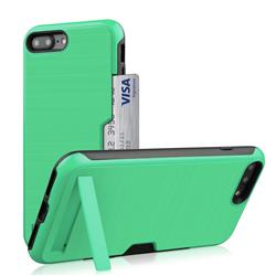 Brushed 2 in 1 TPU + PC Stand Card Slot Phone Case Cover for iPhone 8 Plus / 7 Plus 7P(5.5 inch) - Mint Green