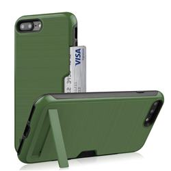 Brushed 2 in 1 TPU + PC Stand Card Slot Phone Case Cover for iPhone 8 Plus / 7 Plus 7P(5.5 inch) - Army Green