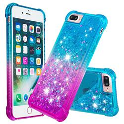 Rainbow Gradient Liquid Glitter Quicksand Sequins Phone Case for iPhone 8 Plus / 7 Plus 7P(5.5 inch) - Blue Purple