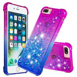 Rainbow Gradient Liquid Glitter Quicksand Sequins Phone Case for iPhone 8 Plus / 7 Plus 7P(5.5 inch) - Purple Blue