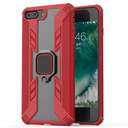 Predator Armor Metal Ring Grip Shockproof Dual Layer Rugged Hard Cover for iPhone 8 Plus / 7 Plus 7P(5.5 inch) - Red