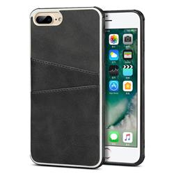 Simple Calf Card Slots Mobile Phone Back Cover for iPhone 8 Plus / 7 Plus 7P(5.5 inch) - Black