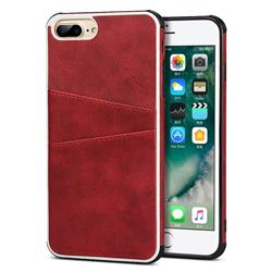 Simple Calf Card Slots Mobile Phone Back Cover for iPhone 8 Plus / 7 Plus 7P(5.5 inch) - Red