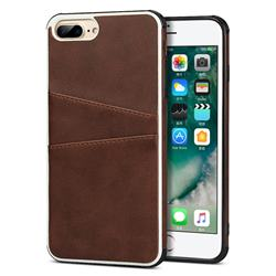 Simple Calf Card Slots Mobile Phone Back Cover for iPhone 8 Plus / 7 Plus 7P(5.5 inch) - Coffee