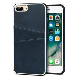 Simple Calf Card Slots Mobile Phone Back Cover for iPhone 8 Plus / 7 Plus 7P(5.5 inch) - Blue