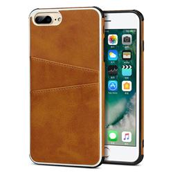 Simple Calf Card Slots Mobile Phone Back Cover for iPhone 8 Plus / 7 Plus 7P(5.5 inch) - Yellow