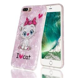 I Love Cat Shell Pattern Clear Bumper Glossy Rubber Silicone Phone Case for iPhone 8 Plus / 7 Plus 7P(5.5 inch)