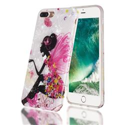 Flower Butterfly Girl Shell Pattern Clear Bumper Glossy Rubber Silicone Phone Case for iPhone 8 Plus / 7 Plus 7P(5.5 inch)