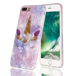 Unicorn Girl Shell Pattern Clear Bumper Glossy Rubber Silicone Phone Case for iPhone 8 Plus / 7 Plus 7P(5.5 inch)