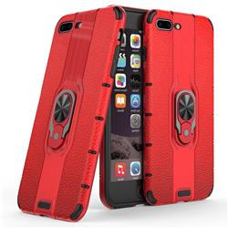 Alita Battle Angel Armor Metal Ring Grip Shockproof Dual Layer Rugged Hard Cover for iPhone 8 Plus / 7 Plus 7P(5.5 inch) - Red