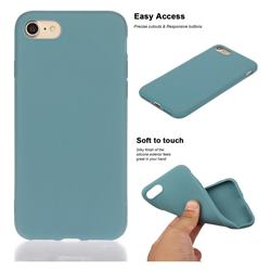 Soft Matte Silicone Phone Cover for iPhone 8 Plus / 7 Plus 7P(5.5 inch) - Lake Blue
