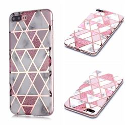 Pink Rhombus Galvanized Rose Gold Marble Phone Back Cover for iPhone 8 Plus / 7 Plus 7P(5.5 inch)