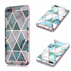 Green White Galvanized Rose Gold Marble Phone Back Cover for iPhone 8 Plus / 7 Plus 7P(5.5 inch)