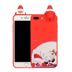 Santa Claus Elk Christmas Xmax Soft 3D Doll Silicone Case for iPhone 8 Plus / 7 Plus 7P(5.5 inch)