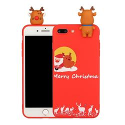 Moon Santa and Elk Christmas Xmax Soft 3D Doll Silicone Case for iPhone 8 Plus / 7 Plus 7P(5.5 inch)