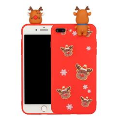 Elk Snowflakes Christmas Xmax Soft 3D Doll Silicone Case for iPhone 8 Plus / 7 Plus 7P(5.5 inch)