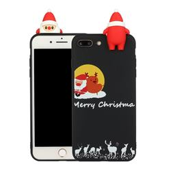Santa Elk on Moon Christmas Xmax Soft 3D Doll Silicone Case for iPhone 8 Plus / 7 Plus 7P(5.5 inch)
