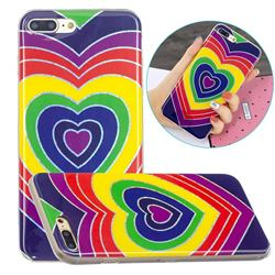 Rainbow Heart Painted Galvanized Electroplating Soft Phone Case Cover for iPhone 8 Plus / 7 Plus 7P(5.5 inch)