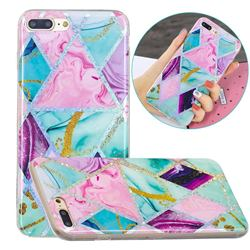 Triangular Marble Painted Galvanized Electroplating Soft Phone Case Cover for iPhone 8 Plus / 7 Plus 7P(5.5 inch)