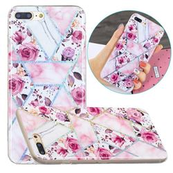 Rose Flower Painted Galvanized Electroplating Soft Phone Case Cover for iPhone 8 Plus / 7 Plus 7P(5.5 inch)