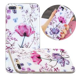 Magnolia Painted Galvanized Electroplating Soft Phone Case Cover for iPhone 8 Plus / 7 Plus 7P(5.5 inch)