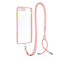 Necklace Cross-body Lanyard Strap Cord Phone Case Cover for iPhone 8 Plus / 7 Plus 7P(5.5 inch) - Pink