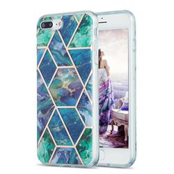 Blue Green Marble Pattern Galvanized Electroplating Protective Case Cover for iPhone 8 Plus / 7 Plus 7P(5.5 inch)