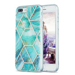Blue Sea Marble Pattern Galvanized Electroplating Protective Case Cover for iPhone 8 Plus / 7 Plus 7P(5.5 inch)