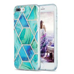 Green Glacier Marble Pattern Galvanized Electroplating Protective Case Cover for iPhone 8 Plus / 7 Plus 7P(5.5 inch)