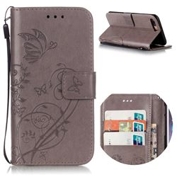 Embossing Butterfly Flower Leather Wallet Case for iPhone 8 Plus / 7 Plus 8P 7P (5.5 inch) - Grey