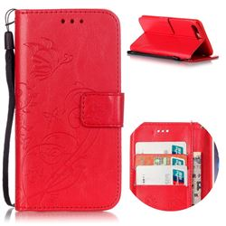 Embossing Butterfly Flower Leather Wallet Case for iPhone 8 Plus / 7 Plus 8P 7P (5.5 inch) - Red