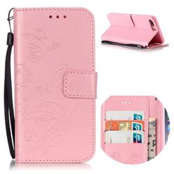Embossing Butterfly Flower Leather Wallet Case for iPhone 8 Plus / 7 Plus 8P 7P (5.5 inch) - Pink