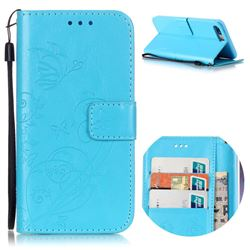 Embossing Butterfly Flower Leather Wallet Case for iPhone 8 Plus / 7 Plus 8P 7P (5.5 inch) - Blue
