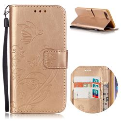 Embossing Butterfly Flower Leather Wallet Case for iPhone 8 Plus / 7 Plus 8P 7P (5.5 inch) - Champagne