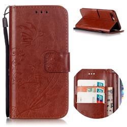 Embossing Butterfly Flower Leather Wallet Case for iPhone 8 Plus / 7 Plus 8P 7P (5.5 inch) - Brown
