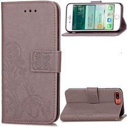 Embossing Imprint Four-Leaf Clover Leather Wallet Case for iPhone 8 Plus / 7 Plus 8P 7P (5.5 inch) - Gray
