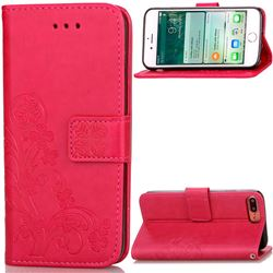Embossing Imprint Four-Leaf Clover Leather Wallet Case for iPhone 8 Plus / 7 Plus 8P 7P (5.5 inch) - Rose