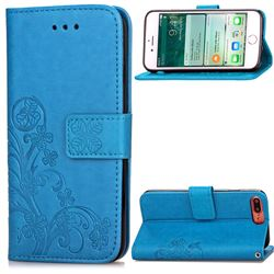 Embossing Imprint Four-Leaf Clover Leather Wallet Case for iPhone 8 Plus / 7 Plus 8P 7P (5.5 inch) - Blue
