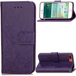 Embossing Imprint Four-Leaf Clover Leather Wallet Case for iPhone 8 Plus / 7 Plus 8P 7P (5.5 inch) - Purple