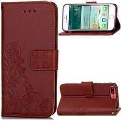 Embossing Imprint Four-Leaf Clover Leather Wallet Case for iPhone 8 Plus / 7 Plus 8P 7P (5.5 inch) - Brown