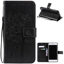 Embossing Butterfly Tree Leather Wallet Case for iPhone 8 Plus / 7 Plus 8P 7P (5.5 inch) - Black