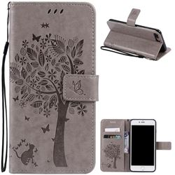 Embossing Butterfly Tree Leather Wallet Case for iPhone 8 Plus / 7 Plus 8P 7P (5.5 inch) - Grey