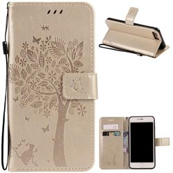 Embossing Butterfly Tree Leather Wallet Case for iPhone 8 Plus / 7 Plus 8P 7P (5.5 inch) - Champagne