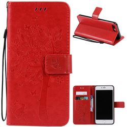 Embossing Butterfly Tree Leather Wallet Case for iPhone 8 Plus / 7 Plus 8P 7P (5.5 inch) - Red