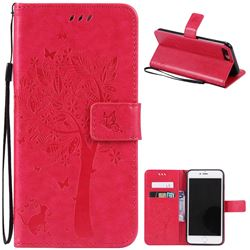Embossing Butterfly Tree Leather Wallet Case for iPhone 8 Plus / 7 Plus 8P 7P (5.5 inch) - Rose